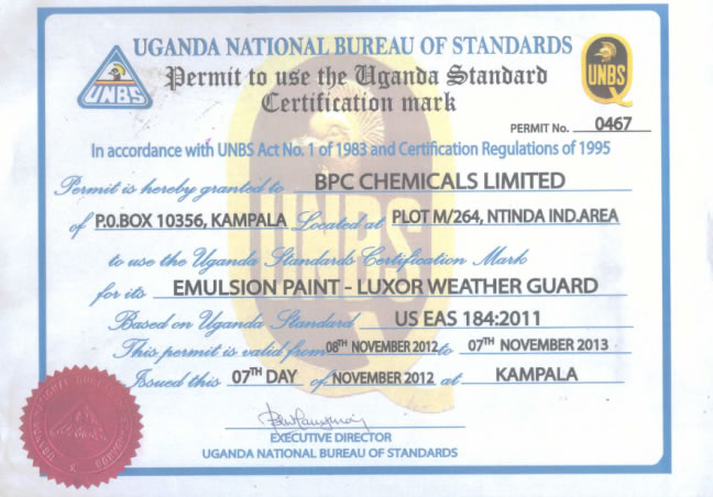 Permit to use UNBS Logo - Wearther Guard n
